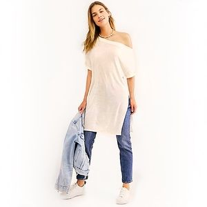 Free People Off Shoulder Long Ivory Tee Tunic NWT